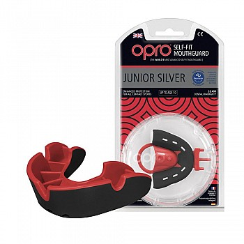 Капа OPRO Junior Silver Black/Red