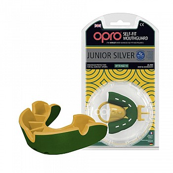 Капа OPRO Junior Silver Green/Gold