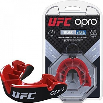 Капа OPRO Junior Silver UFC Hologram Black/Red