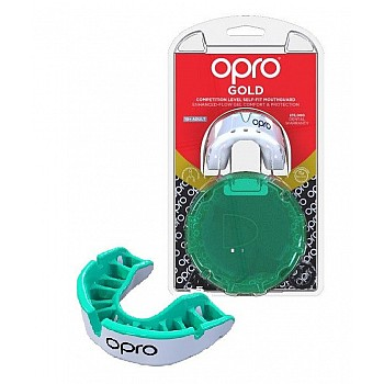 Капа OPRO Gold Series White/Mint