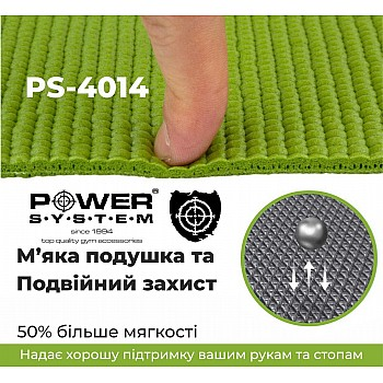 Коврик для йоги и фитнеса Power System  PS-4014 FITNESS-YOGA MAT Green - фото 2