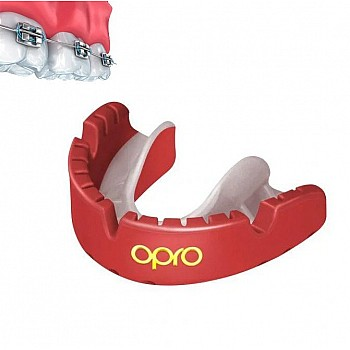 Капа OPRO Gold Braces Red/Pearl