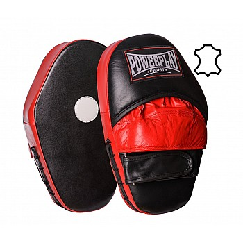 Лапи боксерські PowerPlay 3063 Чорно-Червоні Шкіра [пара] - фото 2
