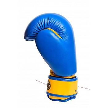 Боксерські рукавиці PowerPlay 3004 JR Синьо-Жовті 6 унцій - фото 2