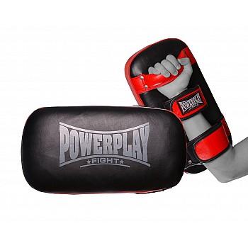 Пади для тайського боксу PowerPlay 3064 Чорно-Червоні Шкіра [пара] - фото 2