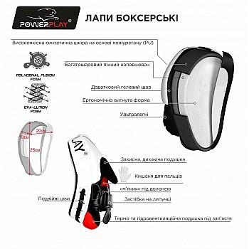 Лапи боксерські PowerPlay 3041 Чорні PU [пара] - фото 2