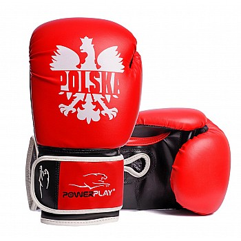 Боксерские перчатки PowerPlay 3021-1 Poland червоно-чорні 8 унций