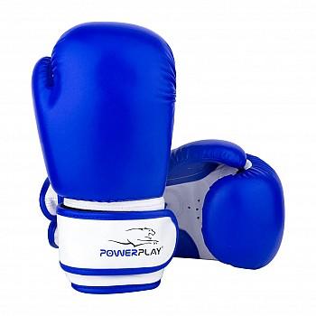 Боксерские перчатки PowerPlay 3004 JR Сине-белые 6 унций