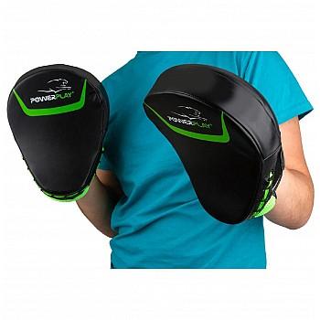 Лапи боксерські PowerPlay 3041 Чорно-Зелені PU [пара] - фото 2
