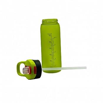 Пляшка для води CASNO 750 мл KXN-1210 Зелена з соломинкою - фото 2