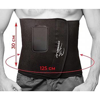 Пояс для схуднення PowerPlay 4301 (125*30) Чорний+кишеня для смартфона - фото 2
