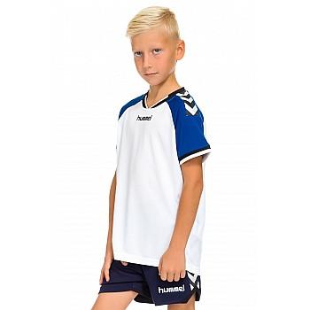 Футболка детская Hummel STAY AUTHENTIC POLY JERSEY бело-синяя