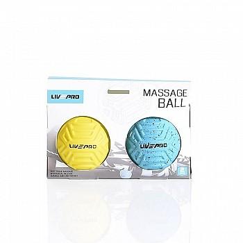 Набор мячиков для массажа LivePro Foot Massage Ball голубой/желтый 2 шт. - фото 2