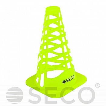 Тренировочный конус SECO® с отверстиями 23 см цвет зеленый неон