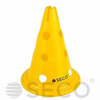 Тренировочный конус с отверстиями SECO® 30 см желтого цвета