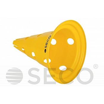 Тренировочный конус с отверстиями SECO® 30 см желтого цвета - фото 2