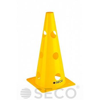 Тренировочный конус с отверстиями SECO® 32 см желтого цвета