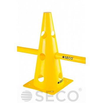 Тренировочный конус с отверстиями SECO® 32 см желтого цвета - фото 2