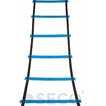 Тренировочная лестница координационная для бега SECO® 12 ступеней 6 м синего цвета