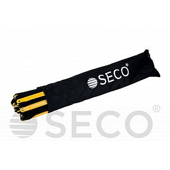Тренировочная лестница координационная для бега SECO® складная 12 ступеней 5,1 м желтого цвета
